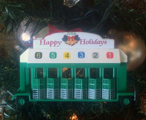 STARTING GATE HAPPY hOLIDAYS ORNAMENT