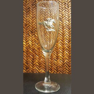Racehorse and Jockey Champagne Glass