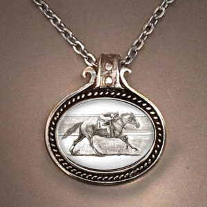 Horse Racing Oval Necklace