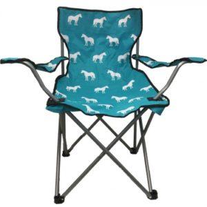 Kids Horse Print Folding Chair Turqoise