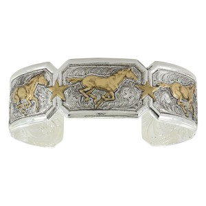 Sterling Cuff with Gold Running Horses