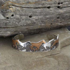 Copper and Silver Horses Cuff