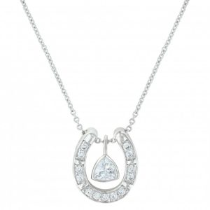 Horseshoe CZ Necklace Sterling Silver