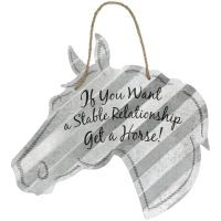 """Stable Relationship Horse Head Metal 5"""" Sign"""