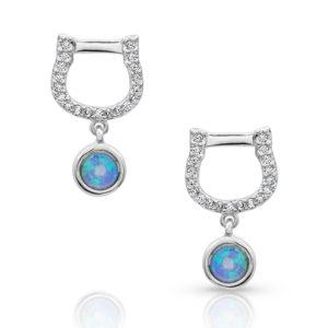 Horseshoe Opal Drop Earrings